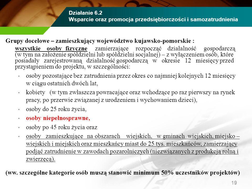 Grupy docelowe – zamieszkujący województwo kujawsko-pomorskie : wszystkie osoby fizyczne zamierzające rozpocząć działalność gospodarczą (w tym na zało