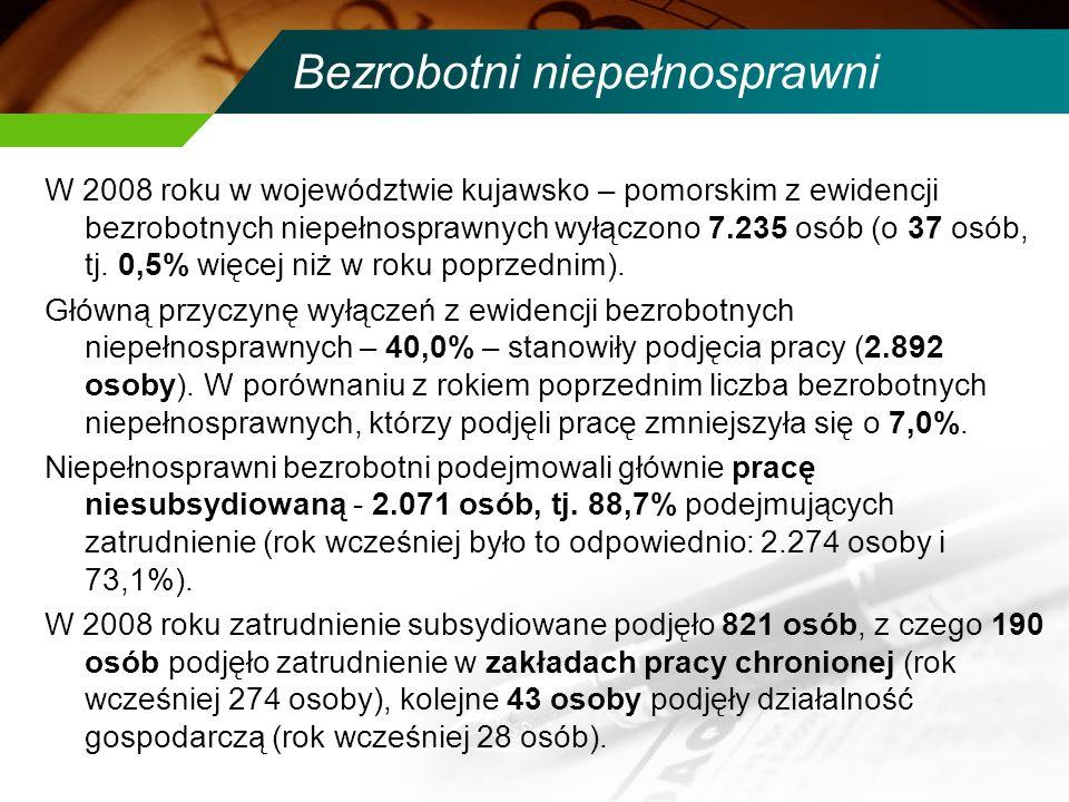 Bezrobotni niepełnosprawni W 2008 roku w województwie kujawsko – pomorskim z ewidencji bezrobotnych niepełnosprawnych wyłączono 7.235 osób (o 37 osób,