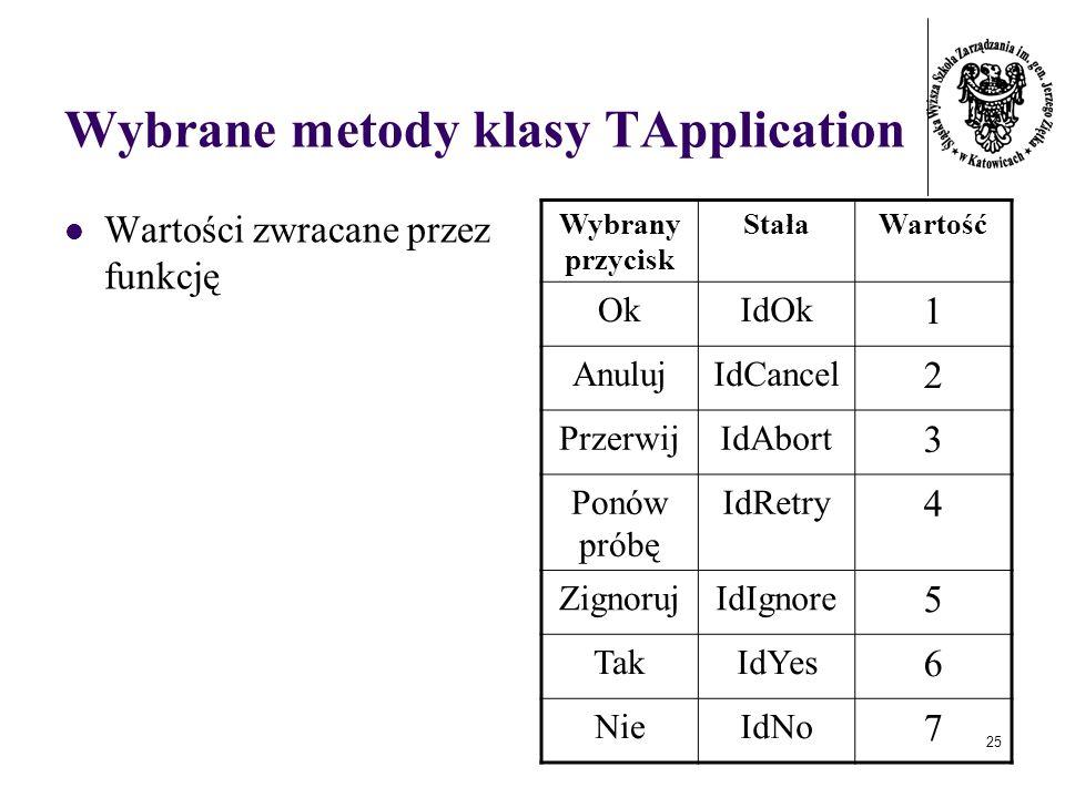 25 Wybrane metody klasy TApplication Wartości zwracane przez funkcję Wybrany przycisk StałaWartość OkIdOk 1 AnulujIdCancel 2 PrzerwijIdAbort 3 Ponów próbę IdRetry 4 ZignorujIdIgnore 5 TakIdYes 6 NieIdNo 7