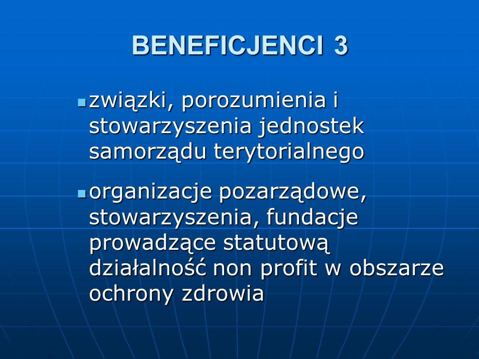 BENEFICJENCI 3 związki, porozumienia i stowarzyszenia jednostek samorządu terytorialnego związki, porozumienia i stowarzyszenia jednostek samorządu terytorialnego organizacje pozarządowe, stowarzyszenia, fundacje prowadzące statutową działalność non profit w obszarze ochrony zdrowia organizacje pozarządowe, stowarzyszenia, fundacje prowadzące statutową działalność non profit w obszarze ochrony zdrowia