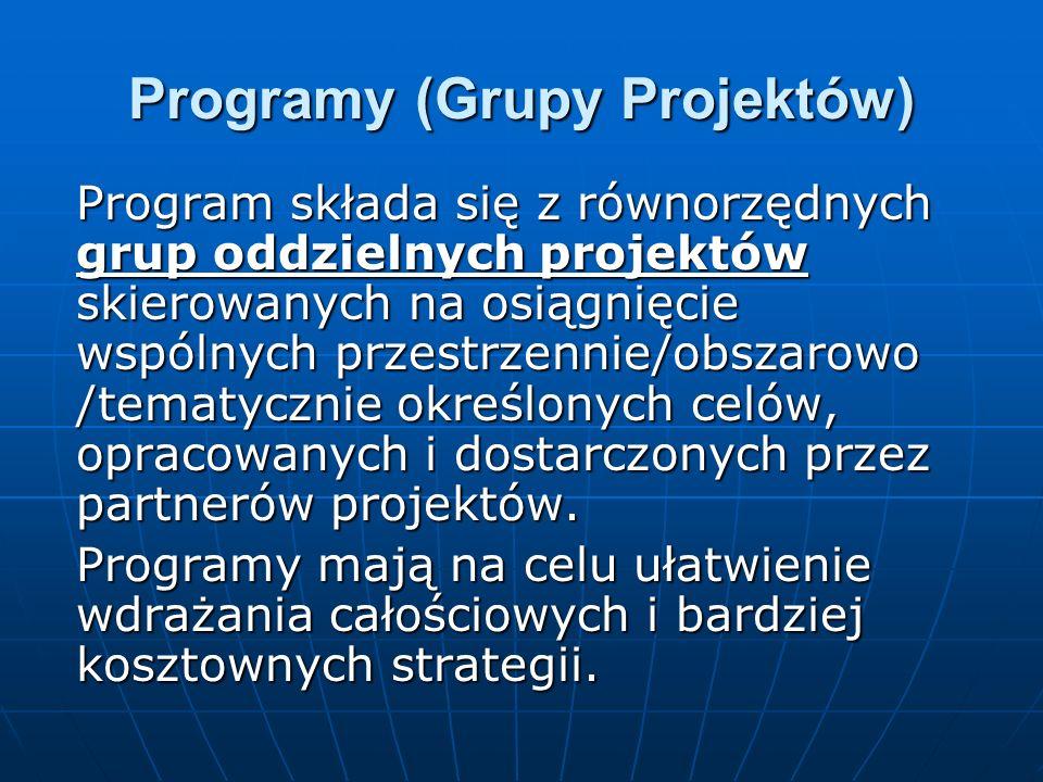 Programy (Grupy Projektów) Program składa się z równorzędnych grup oddzielnych projektów skierowanych na osiągnięcie wspólnych przestrzennie/obszarowo /tematycznie określonych celów, opracowanych i dostarczonych przez partnerów projektów.