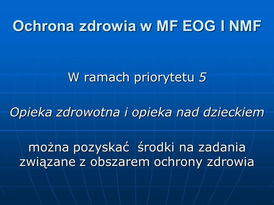 Ochrona zdrowia w MF EOG I NMF W ramach priorytetu 5 Opieka zdrowotna i opieka nad dzieckiem można pozyskać środki na zadania związane z obszarem ochrony zdrowia