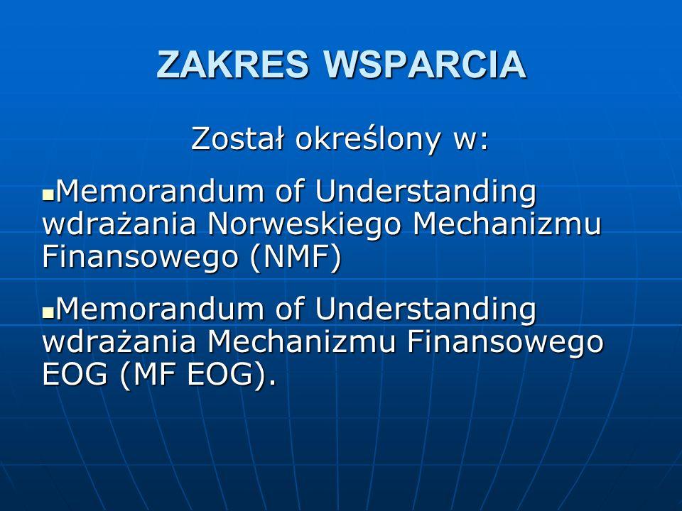 ZAKRES WSPARCIA Został określony w: Memorandum of Understanding wdrażania Norweskiego Mechanizmu Finansowego (NMF) Memorandum of Understanding wdrażania Norweskiego Mechanizmu Finansowego (NMF) Memorandum of Understanding wdrażania Mechanizmu Finansowego EOG (MF EOG).