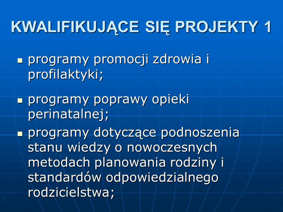 programy promocji zdrowia i profilaktyki; programy promocji zdrowia i profilaktyki; programy poprawy opieki perinatalnej; programy poprawy opieki perinatalnej; programy dotyczące podnoszenia stanu wiedzy o nowoczesnych metodach planowania rodziny i standardów odpowiedzialnego rodzicielstwa; programy dotyczące podnoszenia stanu wiedzy o nowoczesnych metodach planowania rodziny i standardów odpowiedzialnego rodzicielstwa; KWALIFIKUJĄCE SIĘ PROJEKTY 1