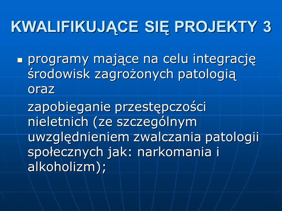 programy mające na celu integrację środowisk zagrożonych patologią oraz programy mające na celu integrację środowisk zagrożonych patologią oraz zapobieganie przestępczości nieletnich (ze szczególnym uwzględnieniem zwalczania patologii społecznych jak: narkomania i alkoholizm); KWALIFIKUJĄCE SIĘ PROJEKTY 3