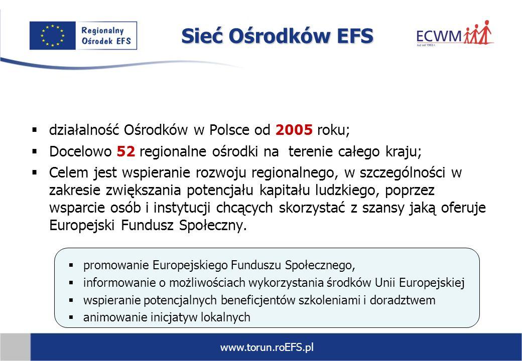 www.torun.roEFS.pl Sieć Ośrodków EFS działalność Ośrodków w Polsce od 2005 roku; Docelowo 52 regionalne ośrodki na terenie całego kraju; Celem jest ws