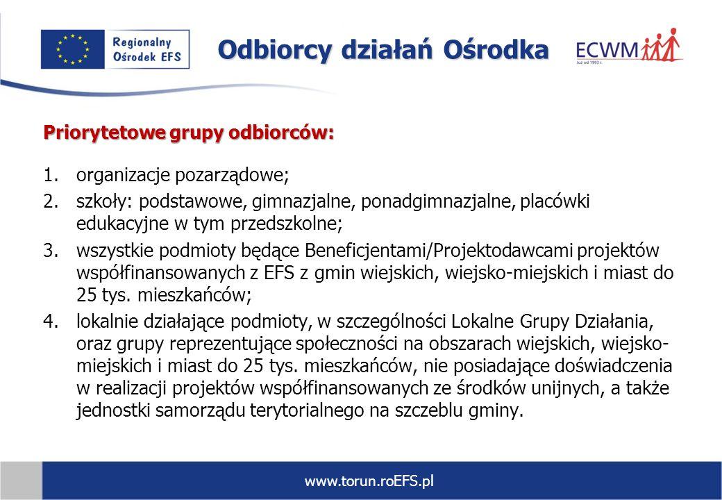 www.torun.roEFS.pl Priorytetowe grupy odbiorców: 1.organizacje pozarządowe; 2.szkoły: podstawowe, gimnazjalne, ponadgimnazjalne, placówki edukacyjne w