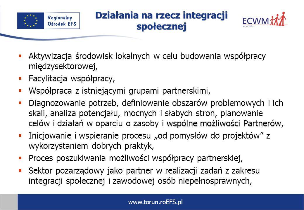 www.torun.roEFS.pl Działania na rzecz integracji społecznej Aktywizacja środowisk lokalnych w celu budowania współpracy międzysektorowej, Facylitacja