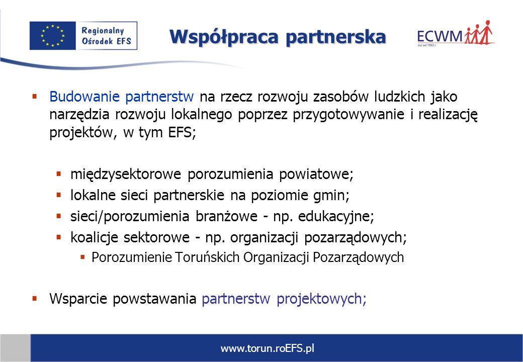 www.torun.roEFS.pl Współpraca partnerska Budowanie partnerstw na rzecz rozwoju zasobów ludzkich jako narzędzia rozwoju lokalnego poprzez przygotowywan