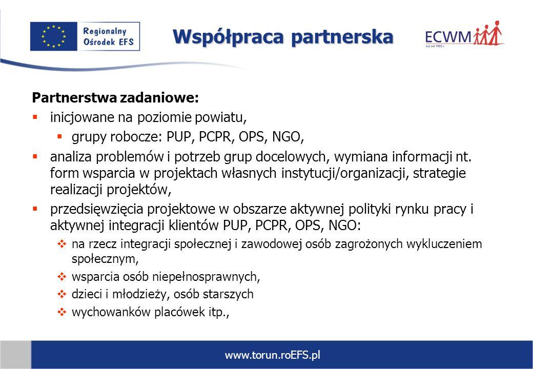 www.torun.roEFS.pl Współpraca partnerska Partnerstwa zadaniowe: inicjowane na poziomie powiatu, grupy robocze: PUP, PCPR, OPS, NGO, analiza problemów