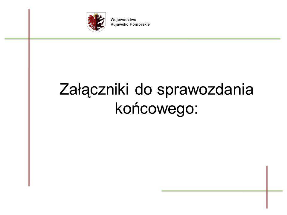 Województwo Kujawsko-Pomorskie Załączniki do sprawozdania końcowego: