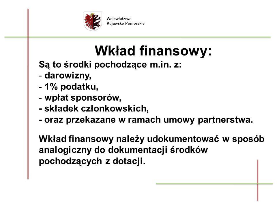 Województwo Kujawsko-Pomorskie Wkład finansowy: Są to środki pochodzące m.in. z: - darowizny, - 1% podatku, - wpłat sponsorów, - składek członkowskich