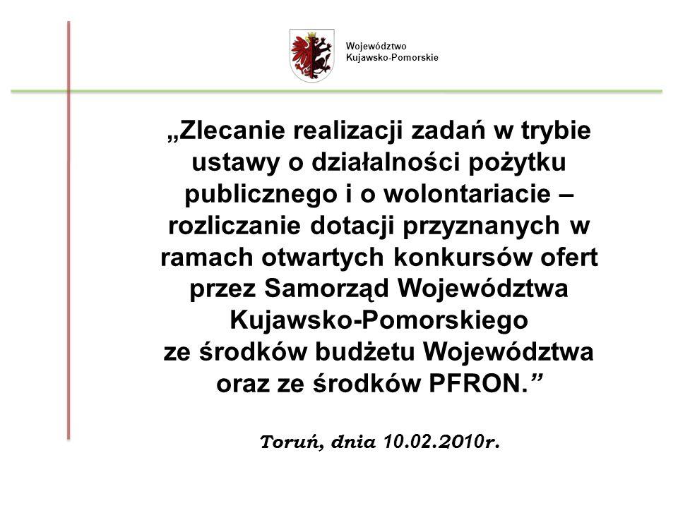 Województwo Kujawsko-Pomorskie Zestawienie otwartych konkursów w trybie pożytku publicznego w 2009 r.