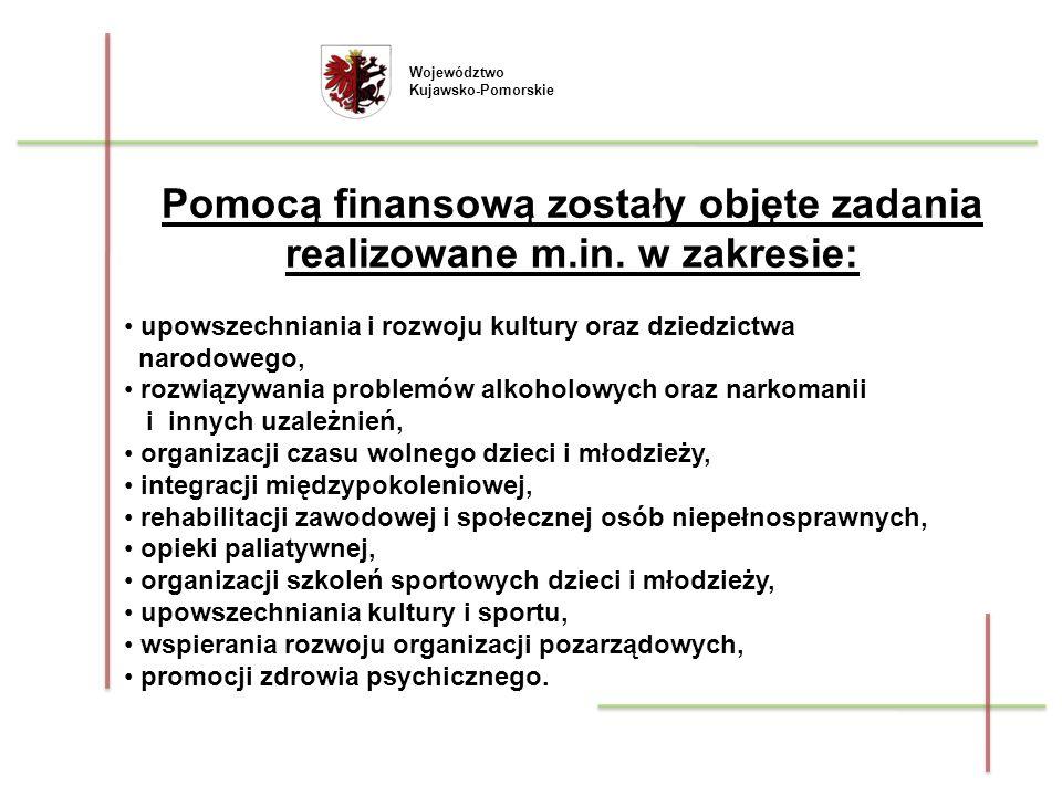 Województwo Kujawsko-Pomorskie Pomocą finansową zostały objęte zadania realizowane m.in. w zakresie: upowszechniania i rozwoju kultury oraz dziedzictw