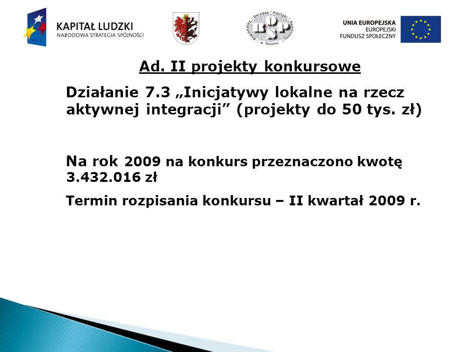 Ad. II projekty konkursowe Działanie 7.3 Inicjatywy lokalne na rzecz aktywnej integracji (projekty do 50 tys. zł) Na rok 2009 na konkurs przeznaczono