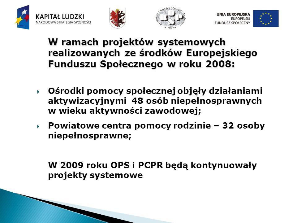 W ramach projektów systemowych realizowanych ze środków Europejskiego Funduszu Społecznego w roku 2008: Ośrodki pomocy społecznej objęły działaniami aktywizacyjnymi 48 osób niepełnosprawnych w wieku aktywności zawodowej; Powiatowe centra pomocy rodzinie – 32 osoby niepełnosprawne; W 2009 roku OPS i PCPR będą kontynuowały projekty systemowe