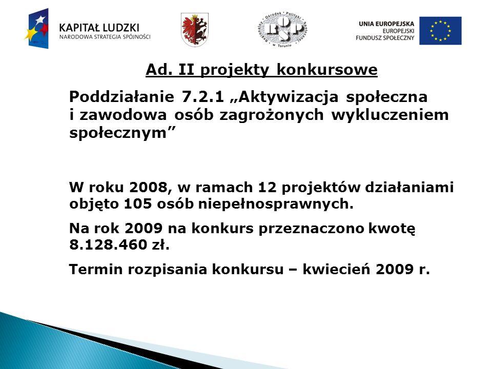 Ad. II projekty konkursowe Poddziałanie 7.2.1 Aktywizacja społeczna i zawodowa osób zagrożonych wykluczeniem społecznym W roku 2008, w ramach 12 proje
