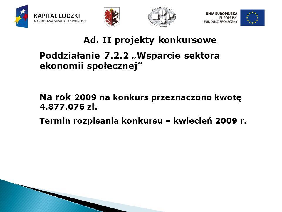 Ad. II projekty konkursowe Poddziałanie 7.2.2 Wsparcie sektora ekonomii społecznej Na rok 2009 na konkurs przeznaczono kwotę 4.877.076 zł. Termin rozp