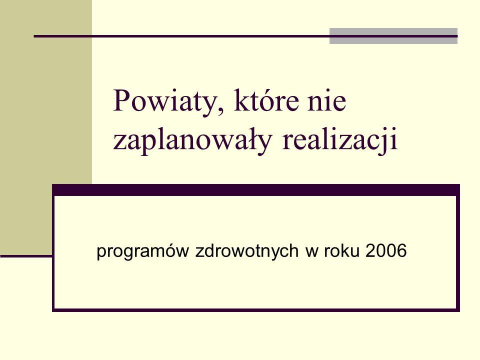 Powiaty, które nie zaplanowały realizacji programów zdrowotnych w roku 2006