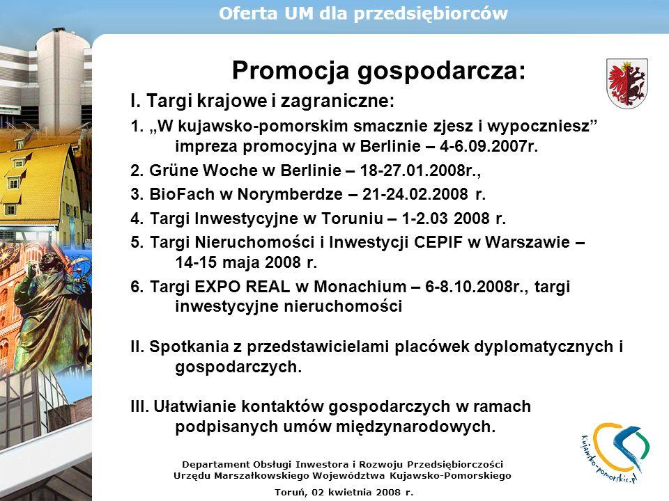Promocja gospodarcza: I. Targi krajowe i zagraniczne: 1. W kujawsko-pomorskim smacznie zjesz i wypoczniesz impreza promocyjna w Berlinie – 4-6.09.2007