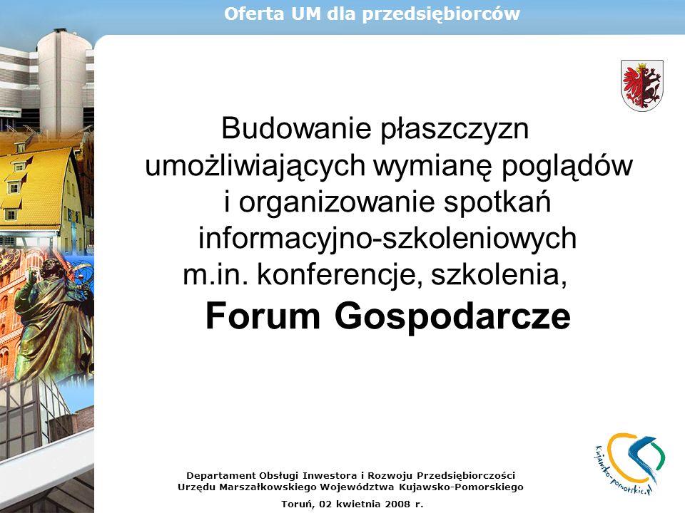 Budowanie płaszczyzn umożliwiających wymianę poglądów i organizowanie spotkań informacyjno-szkoleniowych m.in. konferencje, szkolenia, Forum Gospodarc