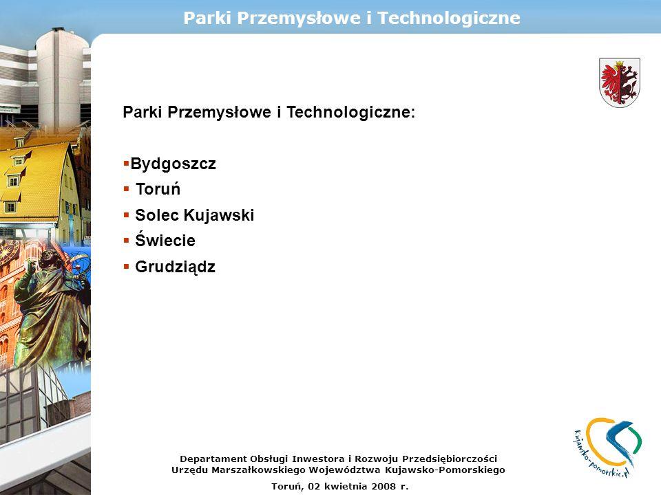 Parki Przemysłowe i Technologiczne Parki Przemysłowe i Technologiczne: Bydgoszcz Toruń Solec Kujawski Świecie Grudziądz Departament Obsługi Inwestora
