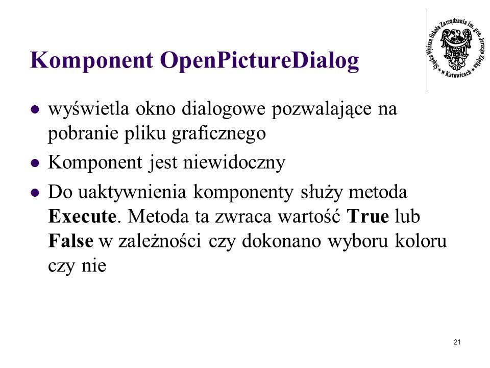 21 Komponent OpenPictureDialog wyświetla okno dialogowe pozwalające na pobranie pliku graficznego Komponent jest niewidoczny Do uaktywnienia komponenty służy metoda Execute.