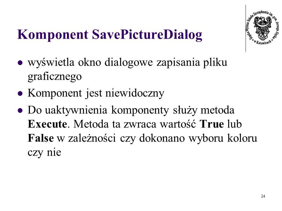 24 Komponent SavePictureDialog wyświetla okno dialogowe zapisania pliku graficznego Komponent jest niewidoczny Do uaktywnienia komponenty służy metoda