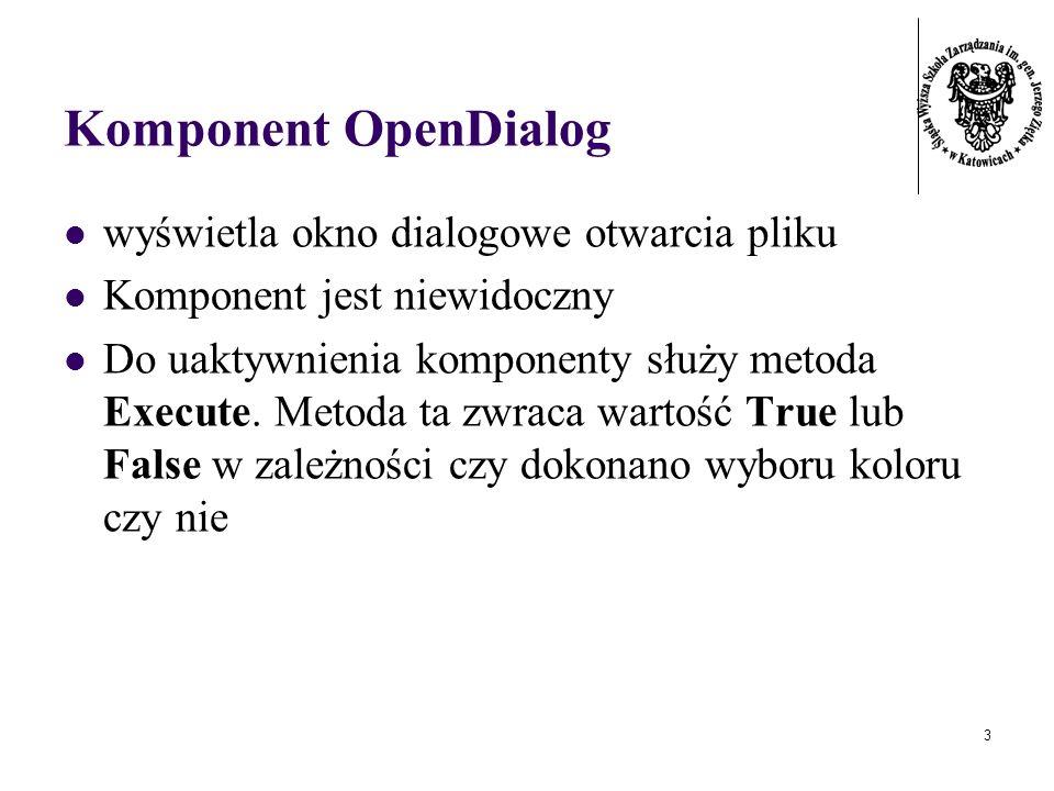 3 Komponent OpenDialog wyświetla okno dialogowe otwarcia pliku Komponent jest niewidoczny Do uaktywnienia komponenty służy metoda Execute. Metoda ta z