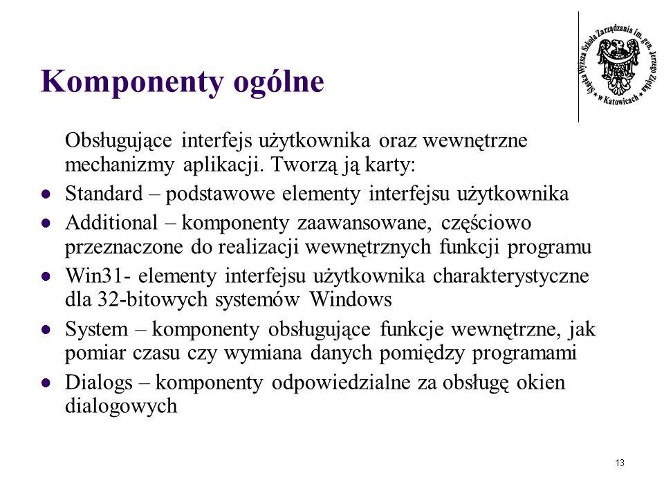 13 Komponenty ogólne Obsługujące interfejs użytkownika oraz wewnętrzne mechanizmy aplikacji.