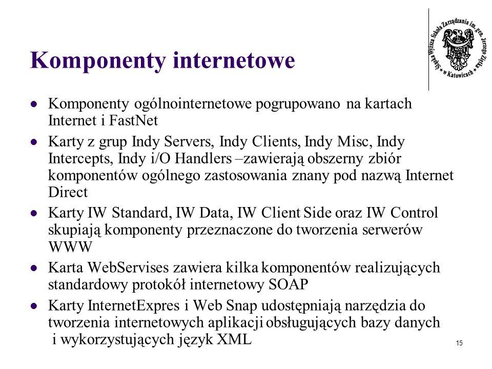 15 Komponenty internetowe Komponenty ogólnointernetowe pogrupowano na kartach Internet i FastNet Karty z grup Indy Servers, Indy Clients, Indy Misc, Indy Intercepts, Indy i/O Handlers –zawierają obszerny zbiór komponentów ogólnego zastosowania znany pod nazwą Internet Direct Karty IW Standard, IW Data, IW Client Side oraz IW Control skupiają komponenty przeznaczone do tworzenia serwerów WWW Karta WebServises zawiera kilka komponentów realizujących standardowy protokół internetowy SOAP Karty InternetExpres i Web Snap udostępniają narzędzia do tworzenia internetowych aplikacji obsługujących bazy danych i wykorzystujących język XML