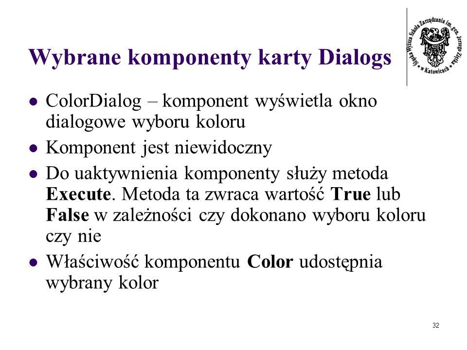 32 Wybrane komponenty karty Dialogs ColorDialog – komponent wyświetla okno dialogowe wyboru koloru Komponent jest niewidoczny Do uaktywnienia komponenty służy metoda Execute.