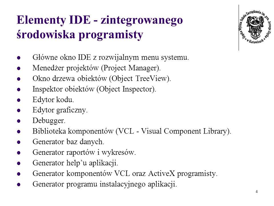 5 Pojęcie komponentu Element programu realizujący konkretne zadanie (umożliwiający wprowadzenie danych, wyprowadzenie danych, obsługujący połączenie z serwerem WWW, odmierzający czas, wyświetlający zawartość folderu).