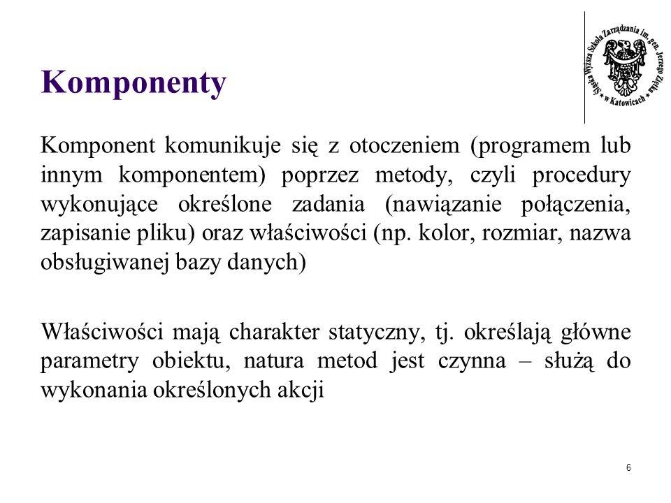 6 Komponenty Komponent komunikuje się z otoczeniem (programem lub innym komponentem) poprzez metody, czyli procedury wykonujące określone zadania (nawiązanie połączenia, zapisanie pliku) oraz właściwości (np.