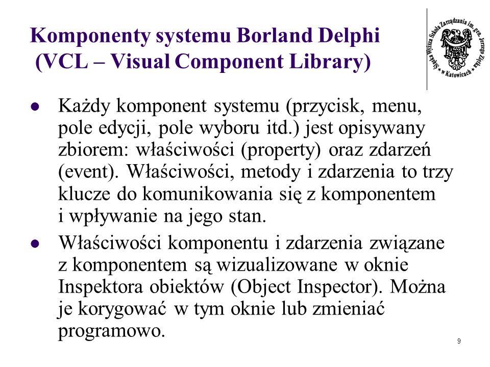9 Komponenty systemu Borland Delphi (VCL – Visual Component Library) Każdy komponent systemu (przycisk, menu, pole edycji, pole wyboru itd.) jest opisywany zbiorem: właściwości (property) oraz zdarzeń (event).