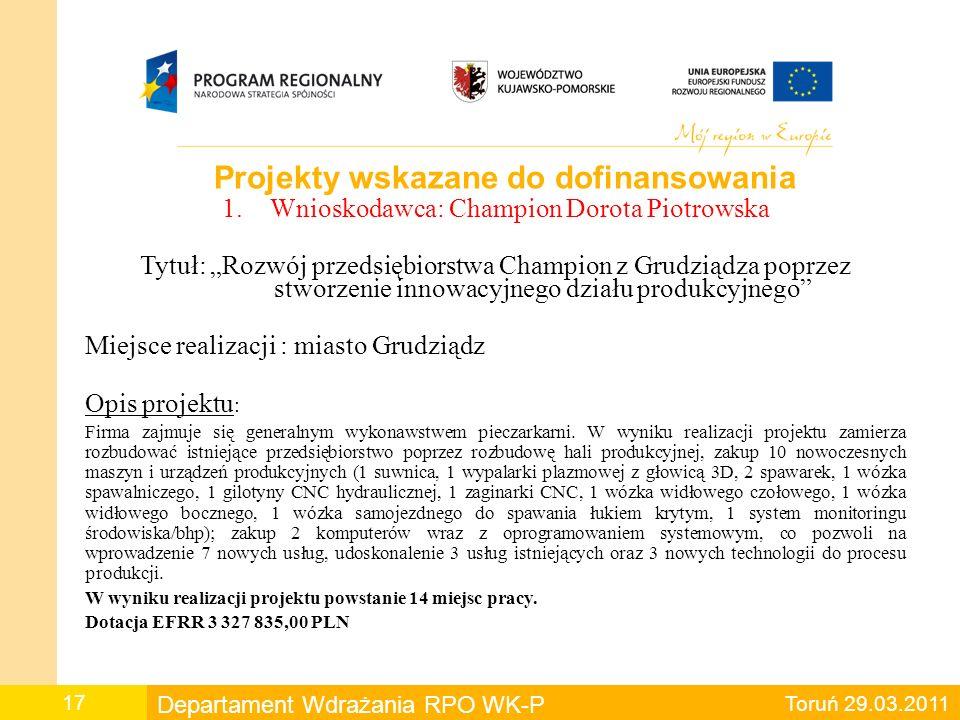 Projekty wskazane do dofinansowania 2.Wnioskodawca : Intemo S.A.