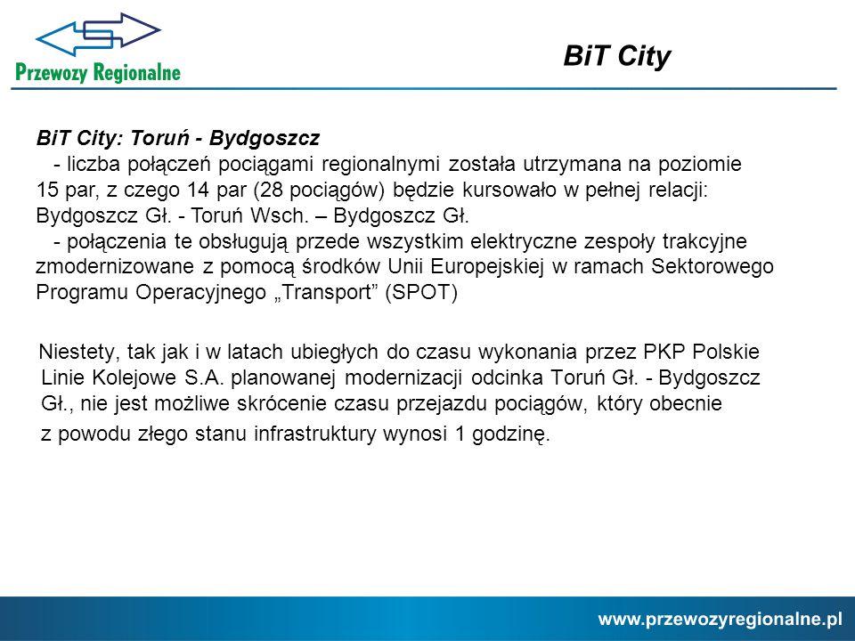 Niestety, tak jak i w latach ubiegłych do czasu wykonania przez PKP Polskie Linie Kolejowe S.A. planowanej modernizacji odcinka Toruń Gł. - Bydgoszcz