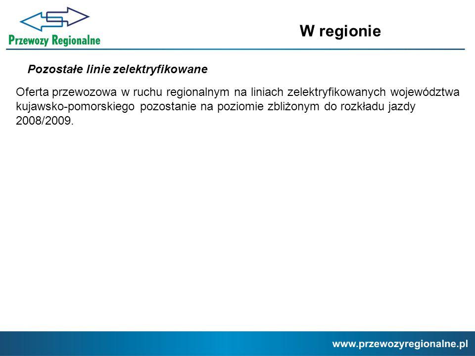 Pozostałe linie zelektryfikowane W regionie Oferta przewozowa w ruchu regionalnym na liniach zelektryfikowanych województwa kujawsko-pomorskiego pozos