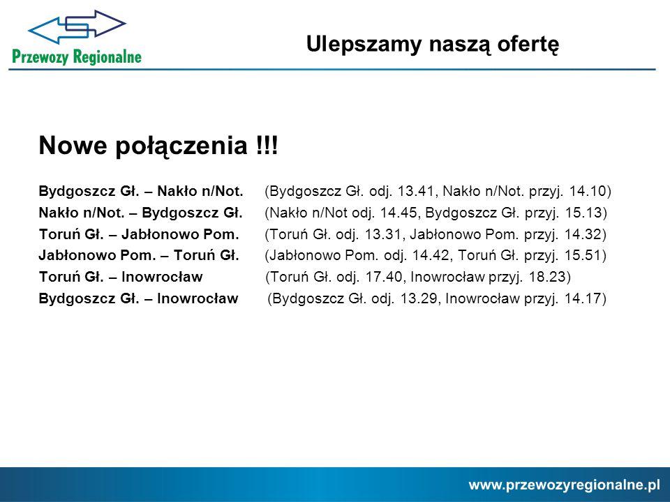 Nowe połączenia !!! Bydgoszcz Gł. – Nakło n/Not. (Bydgoszcz Gł. odj. 13.41, Nakło n/Not. przyj. 14.10) Nakło n/Not. – Bydgoszcz Gł. (Nakło n/Not odj.
