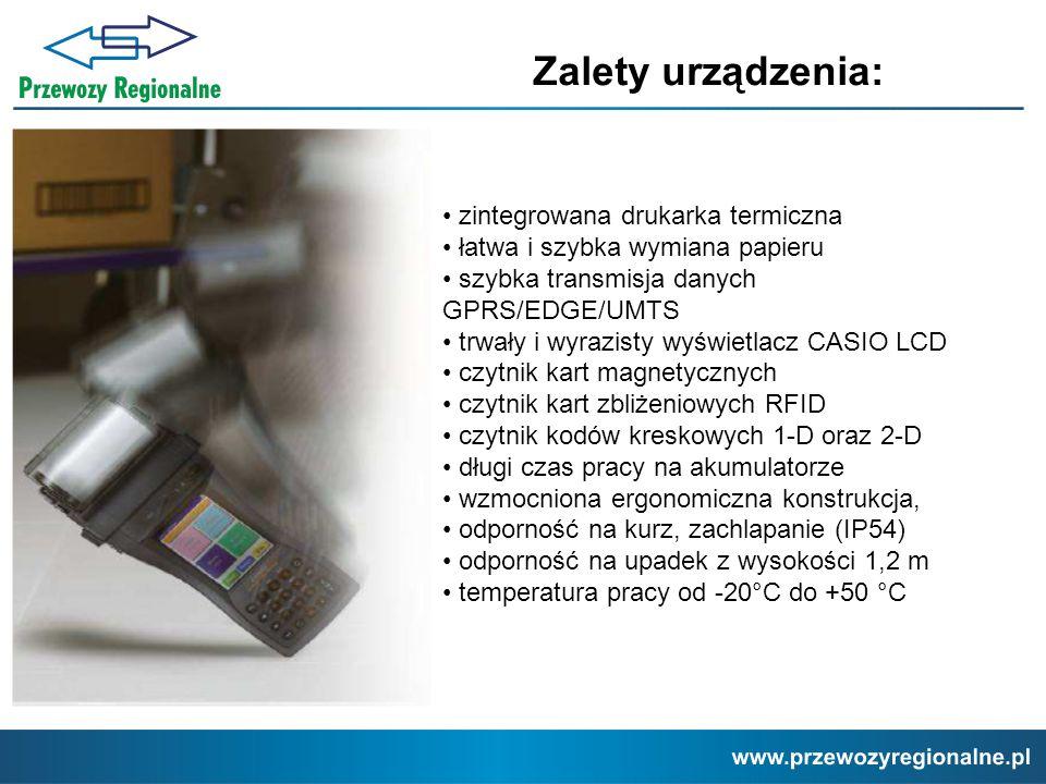 Zalety urządzenia: zintegrowana drukarka termiczna łatwa i szybka wymiana papieru szybka transmisja danych GPRS/EDGE/UMTS trwały i wyrazisty wyświetla