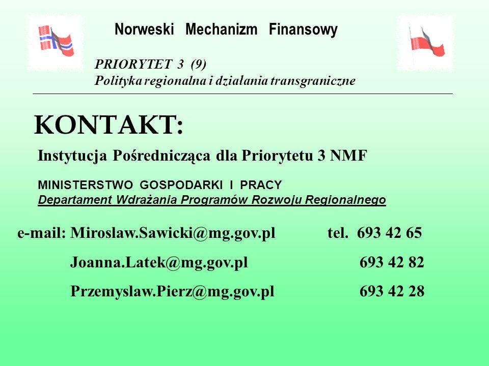 MINISTERSTWO GOSPODARKI I PRACY Departament Wdrażania Programów Rozwoju Regionalnego MONTAŻ FINANSOWY II : 60% 40% PRIORYTET 3 (9) Polityka regionalna i działania transgraniczne Norweski Mechanizm Finansowy NMF ŚRODKI KRAJOWE NIEPUBLICZNE