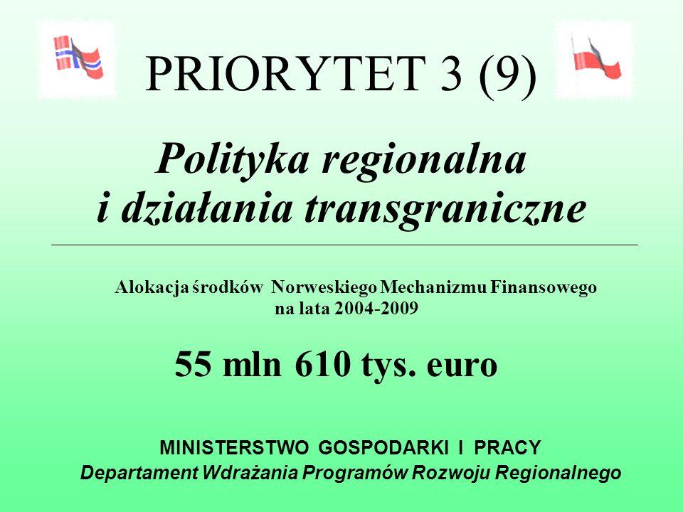 NORWESKI MECHANIZM FINANSOWY Warszawa, grudzień 2004 MINISTERSTWO GOSPODARKI I PRACY Departament Wdrażania Programów Rozwoju Regionalnego