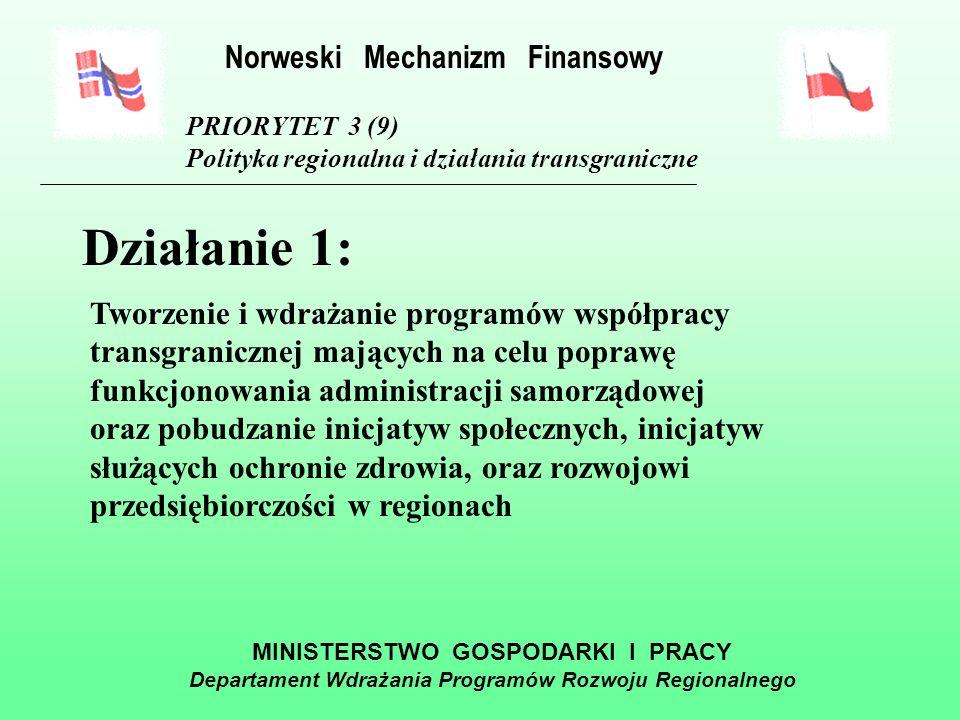 MINISTERSTWO GOSPODARKI I PRACY Departament Wdrażania Programów Rozwoju Regionalnego PRIORYTET 3 (9) Polityka regionalna i działania transgraniczne Alokacja środków Norweskiego Mechanizmu Finansowego na lata 2004-2009 55 mln 610 tys.