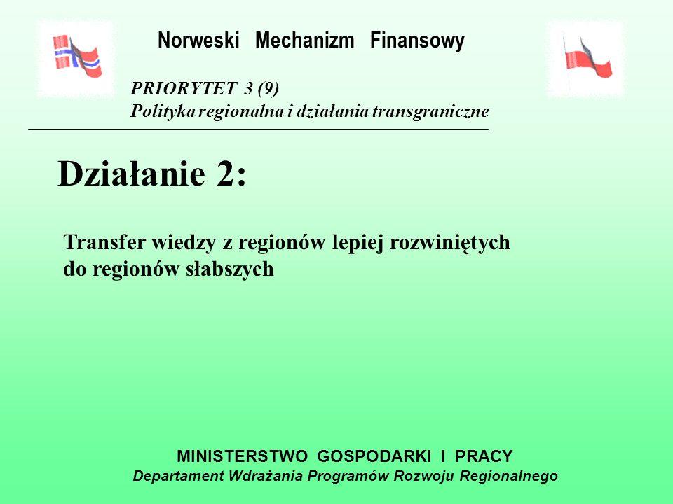 MINISTERSTWO GOSPODARKI I PRACY Departament Wdrażania Programów Rozwoju Regionalnego PRIORYTET 3 (9) Polityka regionalna i działania transgraniczne Działanie 1: Tworzenie i wdrażanie programów współpracy transgranicznej mających na celu poprawę funkcjonowania administracji samorządowej oraz pobudzanie inicjatyw społecznych, inicjatyw służących ochronie zdrowia, oraz rozwojowi przedsiębiorczości w regionach Norweski Mechanizm Finansowy