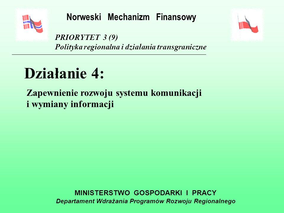 MINISTERSTWO GOSPODARKI I PRACY Departament Wdrażania Programów Rozwoju Regionalnego PRIORYTET 3 (9) Polityka regionalna i działania transgraniczne Działanie 3: Promowanie rozwoju regionalnego i lokalnego w Polsce Norweski Mechanizm Finansowy