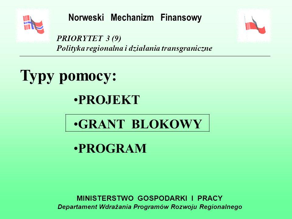 MINISTERSTWO GOSPODARKI I PRACY Departament Wdrażania Programów Rozwoju Regionalnego PRIORYTET 3 (9) Polityka regionalna i działania transgraniczne Działanie 6: Szkolenia dla pracowników administracji rządowej i samorządowej w krajach EOG, mające na celu podwyższenie kwalifikacji zawodowych Norweski Mechanizm Finansowy