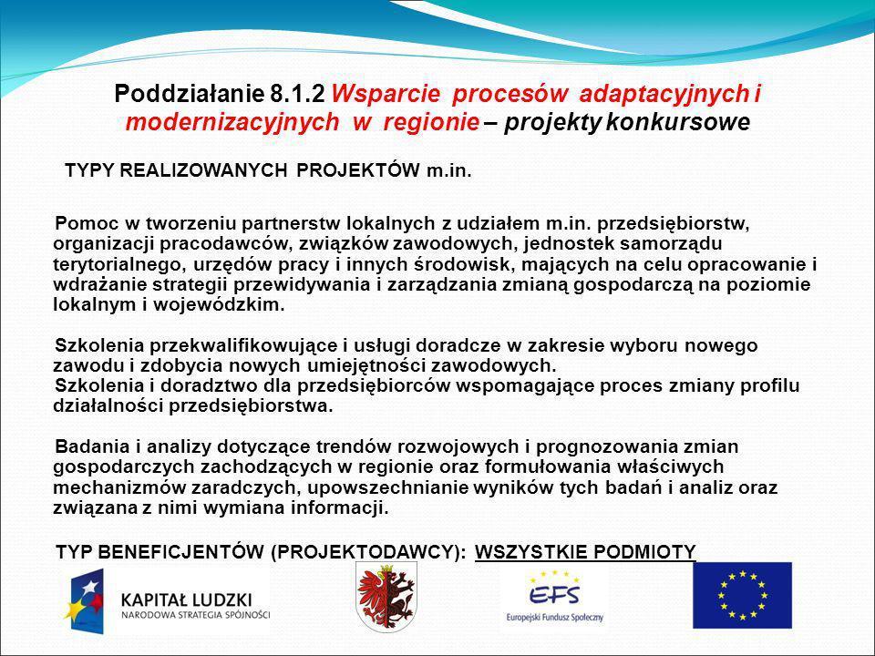 Poddziałanie 8.1.2 Wsparcie procesów adaptacyjnych i modernizacyjnych w regionie – projekty konkursowe TYPY REALIZOWANYCH PROJEKTÓW m.in.