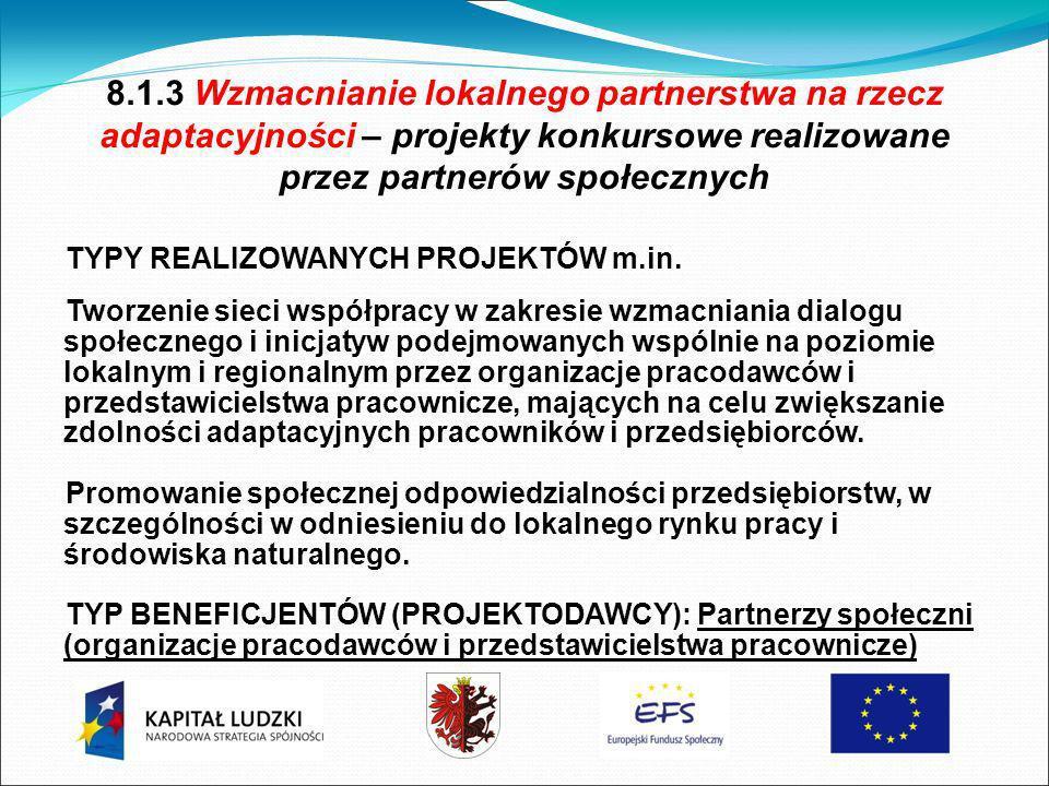 8.1.3 Wzmacnianie lokalnego partnerstwa na rzecz adaptacyjności – projekty konkursowe realizowane przez partnerów społecznych TYPY REALIZOWANYCH PROJEKTÓW m.in.