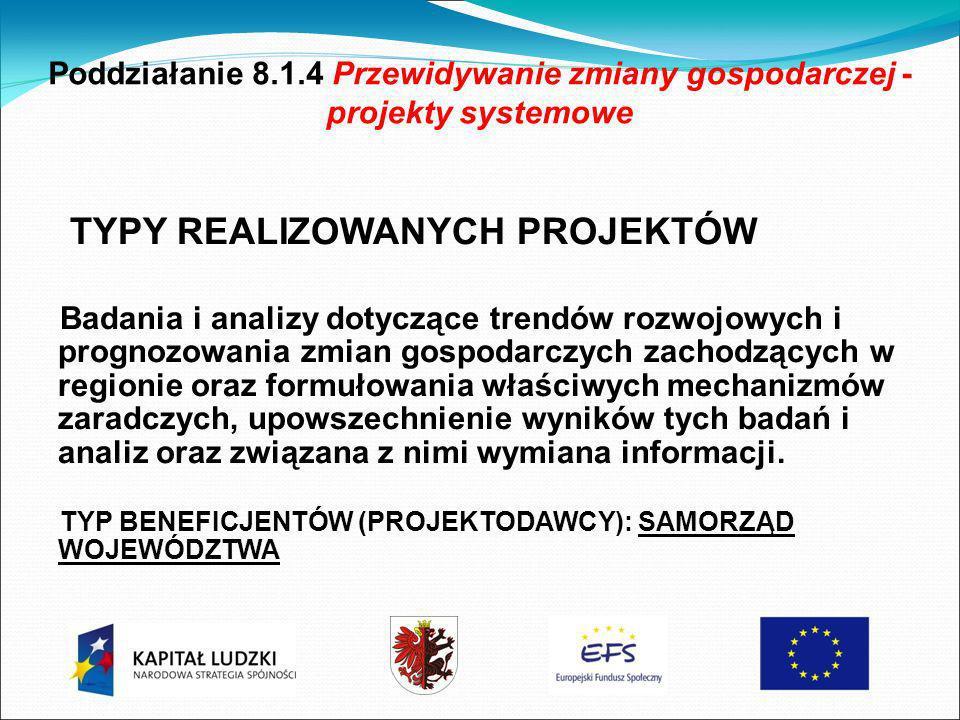 Poddziałanie 8.1.4 Przewidywanie zmiany gospodarczej - projekty systemowe TYPY REALIZOWANYCH PROJEKTÓW Badania i analizy dotyczące trendów rozwojowych i prognozowania zmian gospodarczych zachodzących w regionie oraz formułowania właściwych mechanizmów zaradczych, upowszechnienie wyników tych badań i analiz oraz związana z nimi wymiana informacji.
