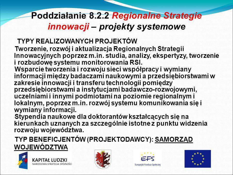 Poddziałanie 8.2.2 Regionalne Strategie innowacji – projekty systemowe TYPY REALIZOWANYCH PROJEKTÓW Tworzenie, rozwój i aktualizacja Regionalnych Strategii Innowacyjnych poprzez m.in.
